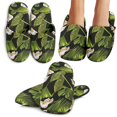 White Orchid Flower Tropical Leaves Pattern Blackground Slippers
