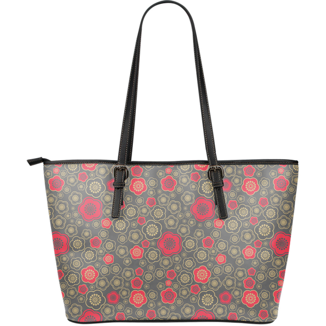 Red gold Sakura cherry blossom gray background Large Leather Tote Bag