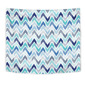 Zigzag  Chevron Blue Pattern Wall Tapestry