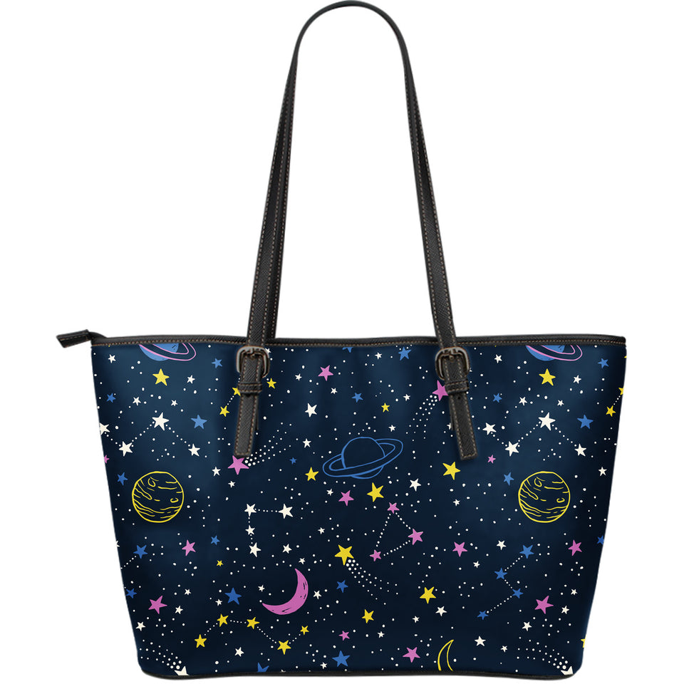 Space Pattern With Planets, Comets, Constellations And Stars Large Leather Tote Bag