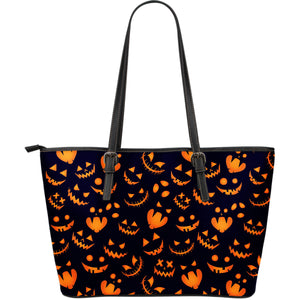 Halloween Pattern Pumpkin Background Large Leather Tote Bag