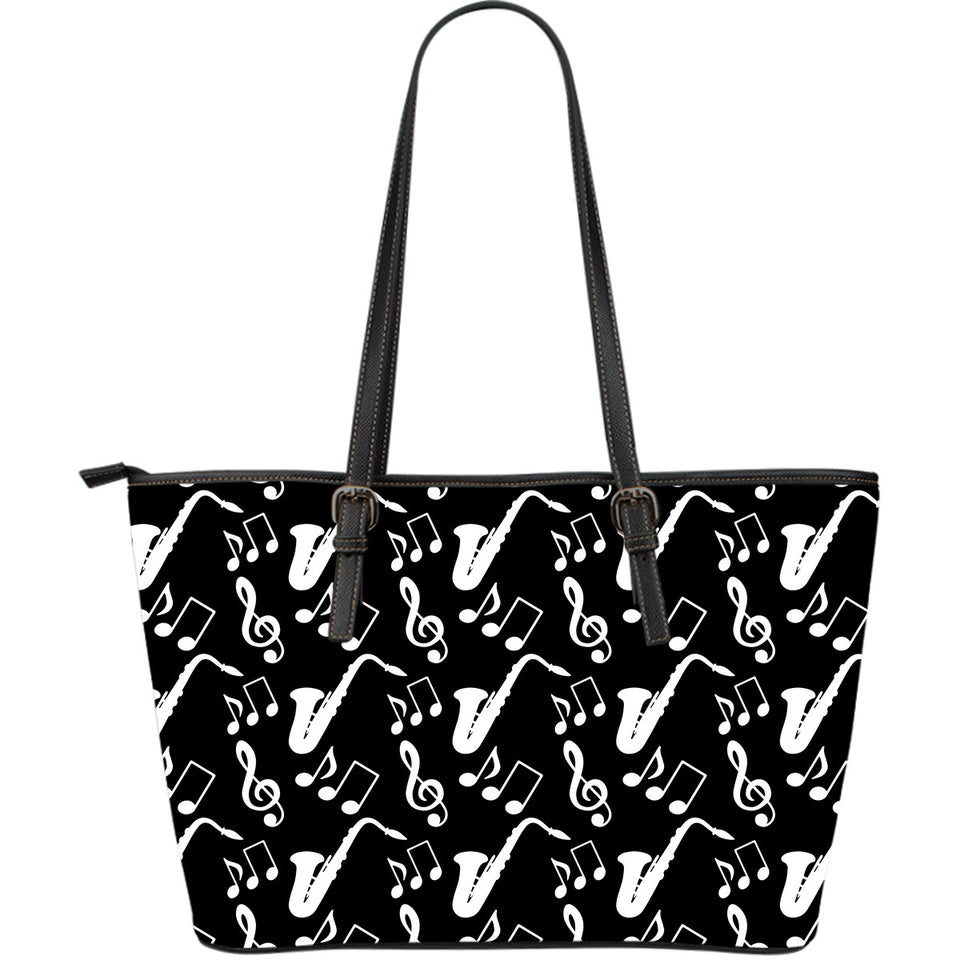 Axophone Music Notes Treble Clef Black White Theme Large Leather Tote Bag