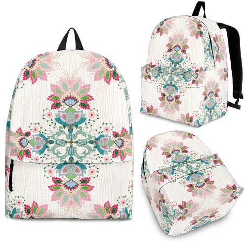 Square Floral Indian Flower Pattern Backpack