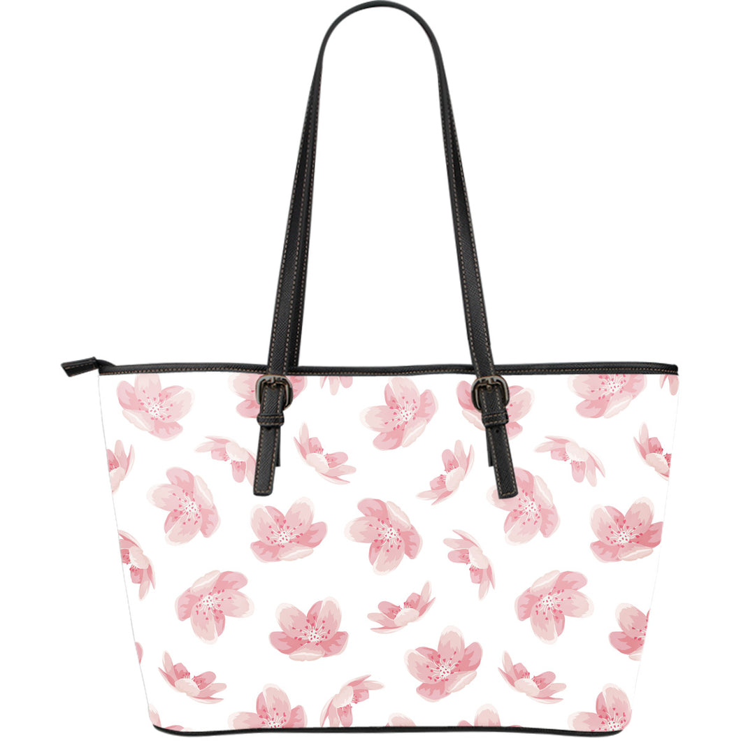 Pink Sakura Cherry Blossom Pattern Large Leather Tote Bag