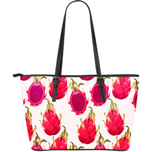 dragon fruits design pattern Large Leather Tote Bag