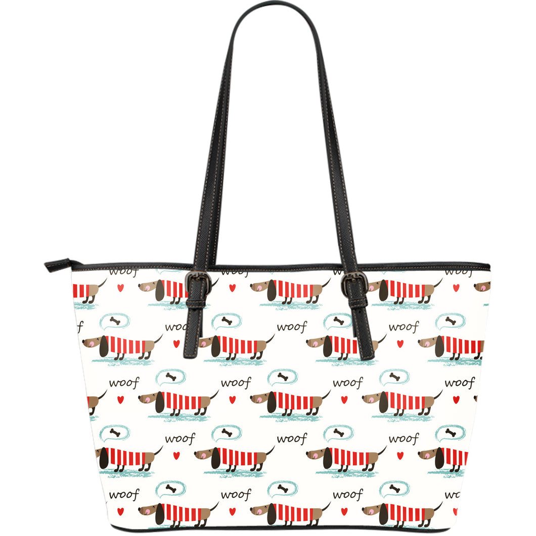 Cute dachshund bone pattern Large Leather Tote Bag