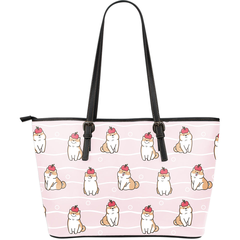 Cute Shiba Inu Dog Apple pattern Large Leather Tote Bag