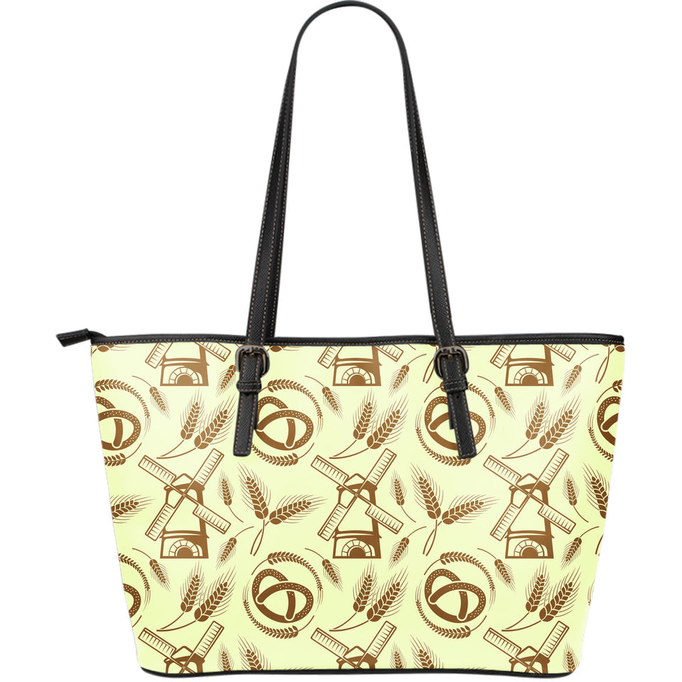 Windmill Wheat pattern Large Leather Tote Bag