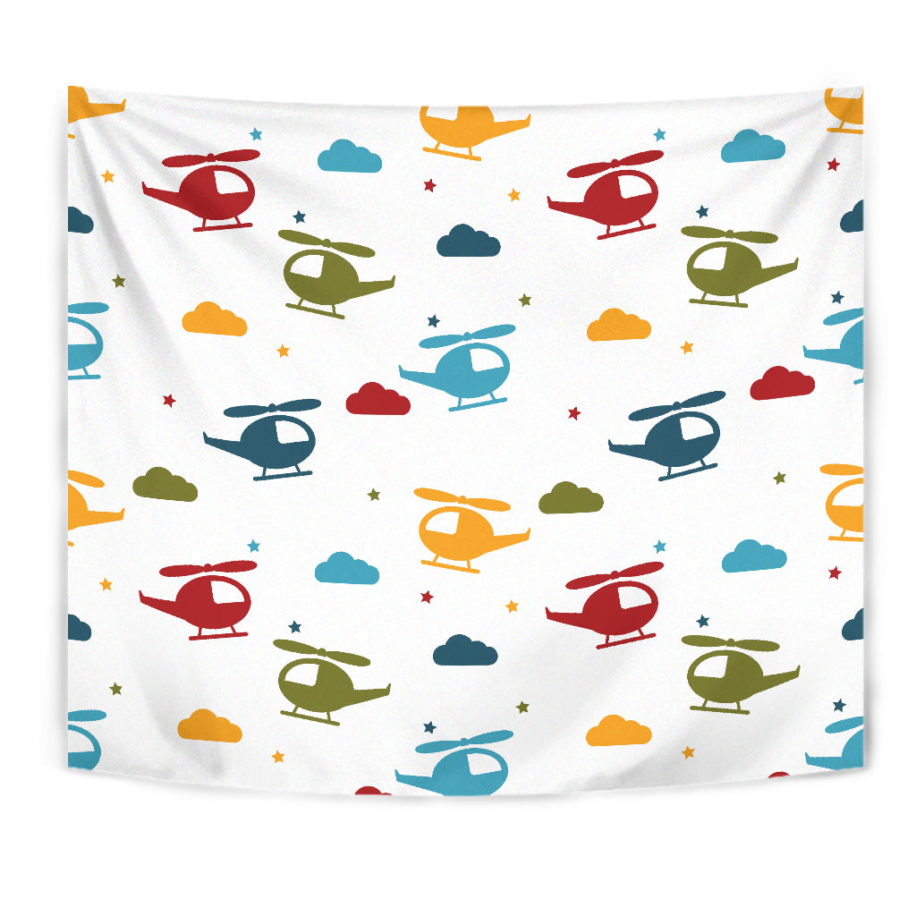 Colorful Helicopter Pattern Wall Tapestry