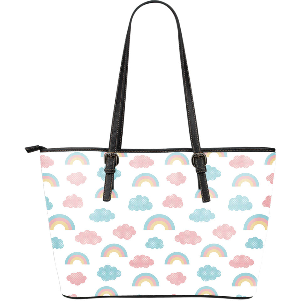 Cute rainbow clound pattern Large Leather Tote Bag