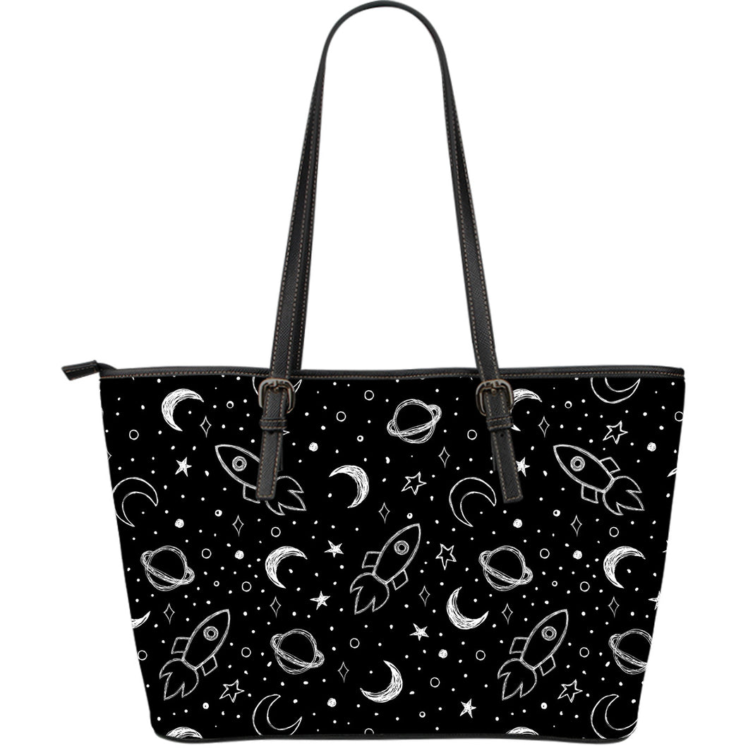 Hand Drawn Space Rocket Star Planet Large Leather Tote Bag