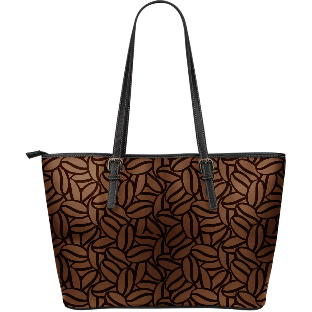 coffee bean pattern Large Leather Tote Bag