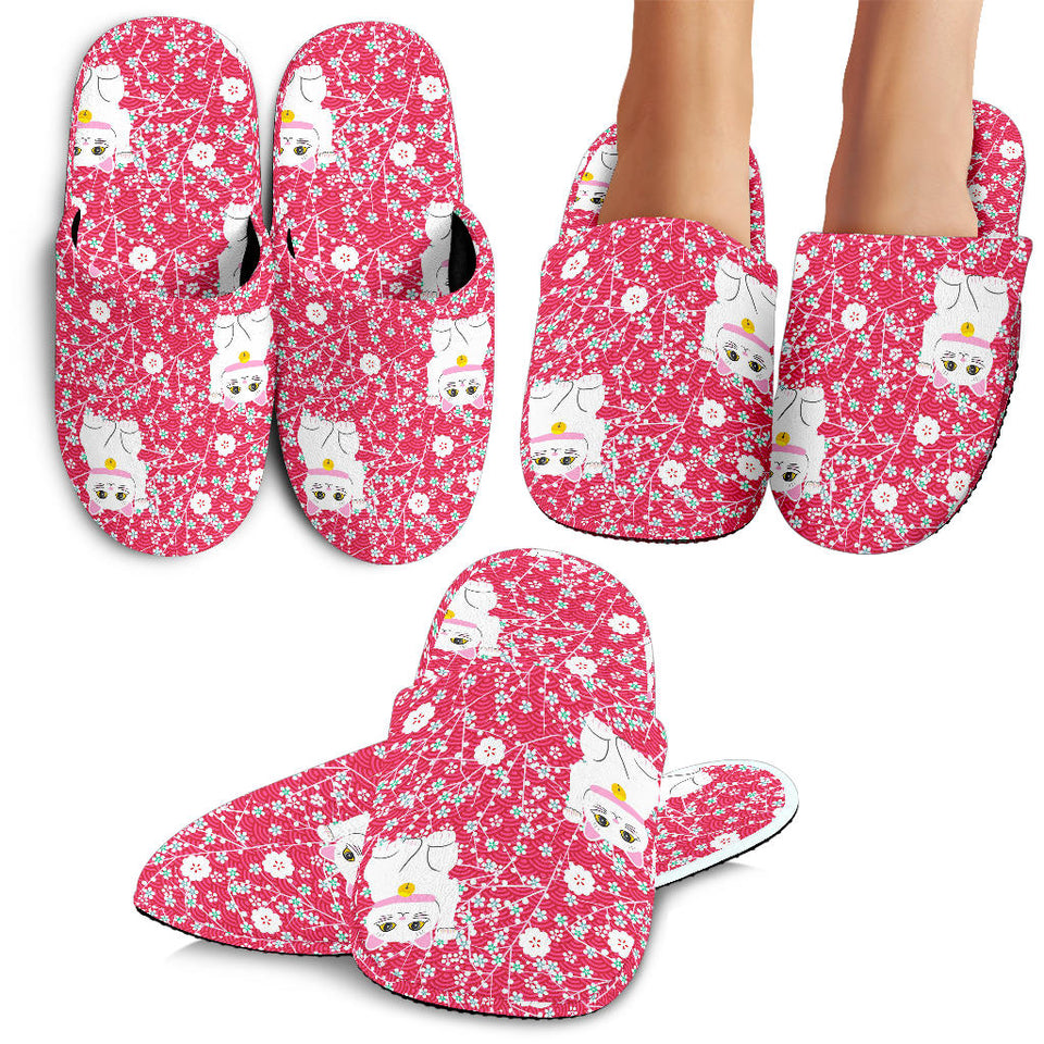 Maneki Neko Lucky Cat Sakura Pink Background Slippers