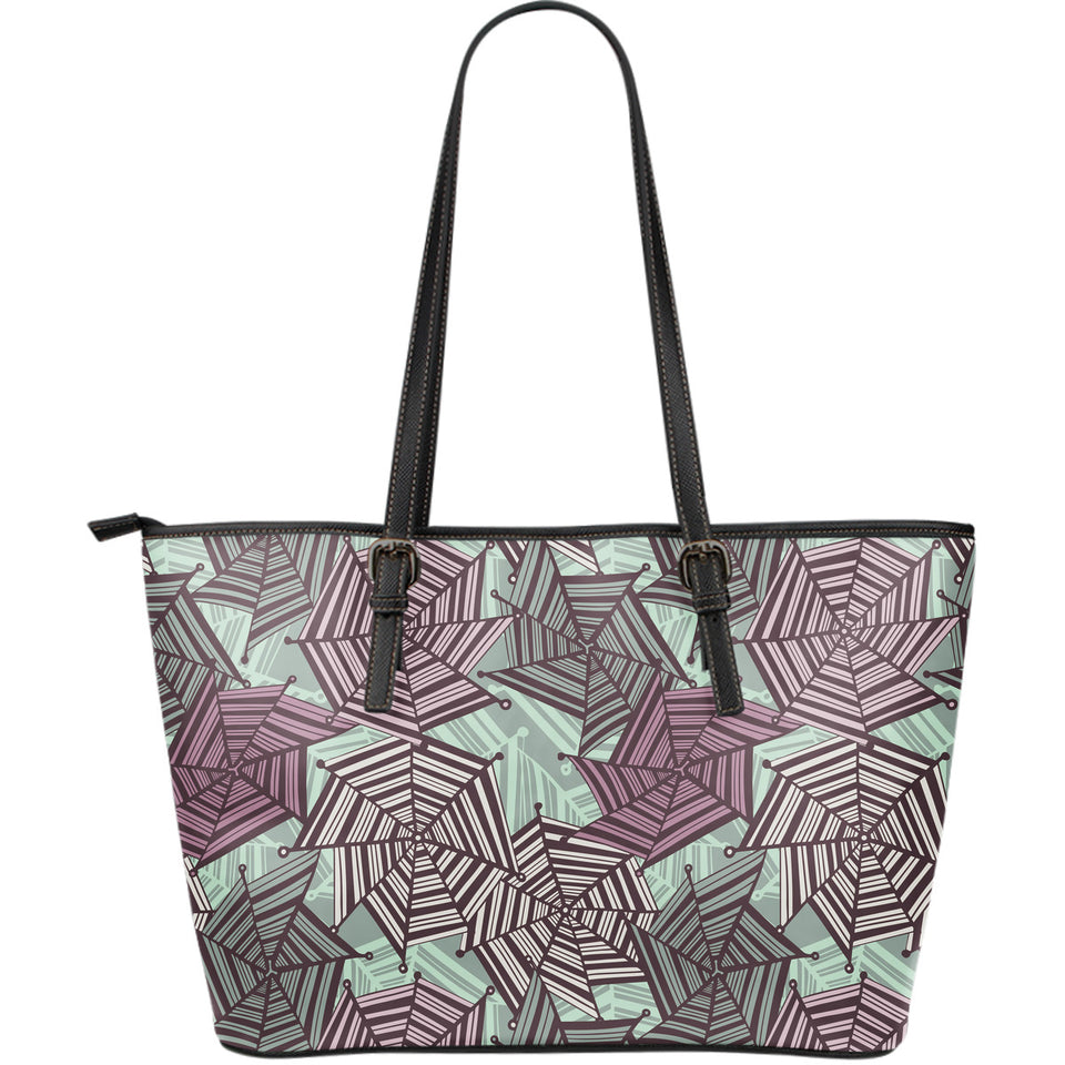 Spider Web Cobweb Design Color Pattern Large Leather Tote Bag