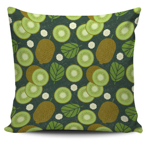 Whole sliced kiwi leave and flower Pillow Cover
