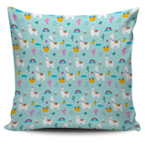 Llama Alpaca Cactus Leaves Pattern Pillow Cover