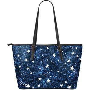 Night sky star pattern Large Leather Tote Bag