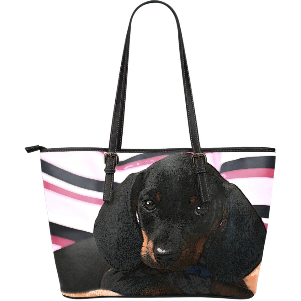 Dachshund Puppy Large Leather Tote Bag