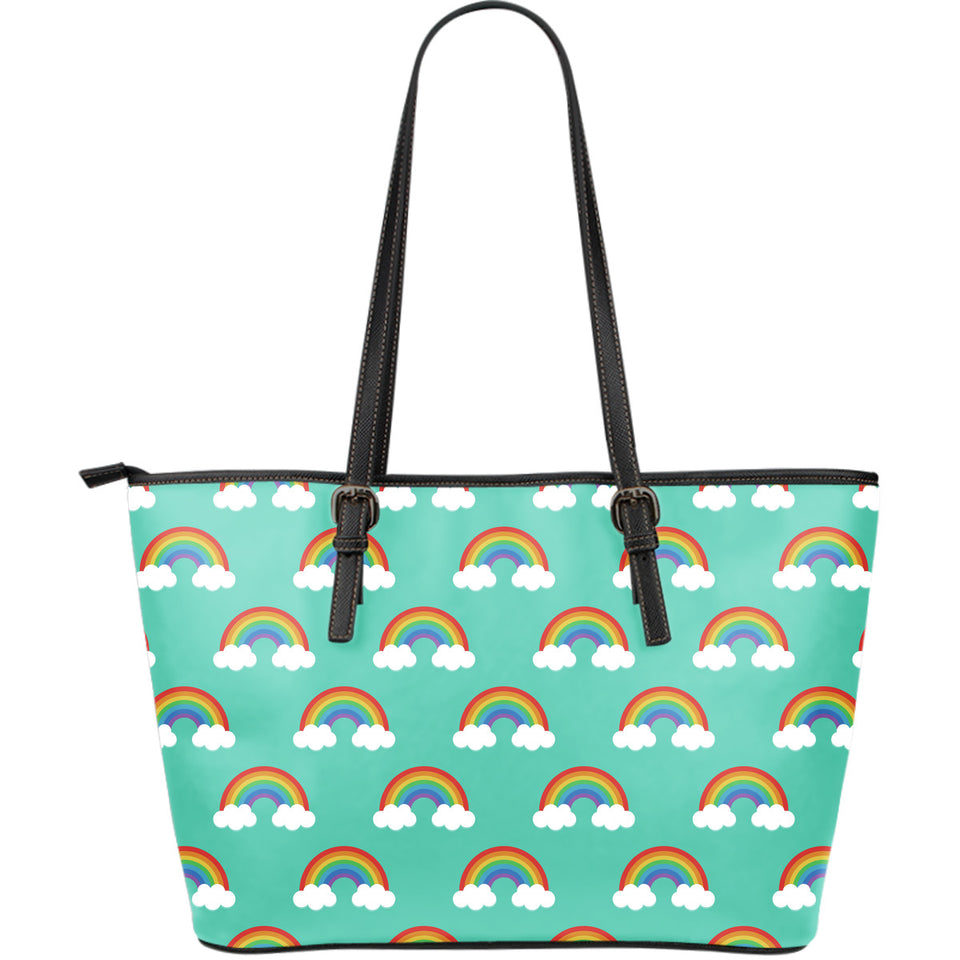 Rainbow pattern green background Large Leather Tote Bag