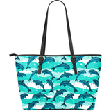 Dolphin sea pattern Large Leather Tote Bag