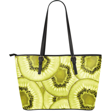 Sliced kiwi pattern Large Leather Tote Bag