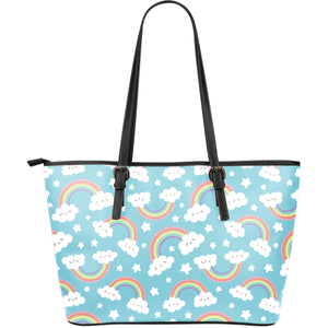 Cute rainbow clound star pattern blue background Large Leather Tote Bag