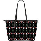Deer Christmas new year pattern argyle Large Leather Tote Bag