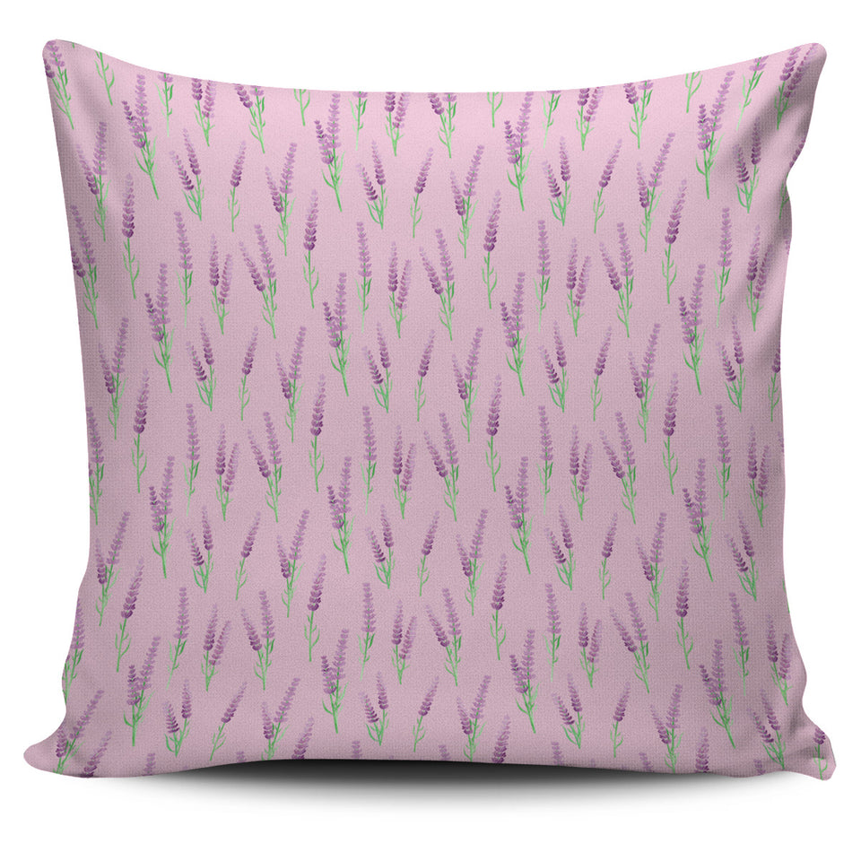 Lavender Pattern Pink Background Pillow Cover