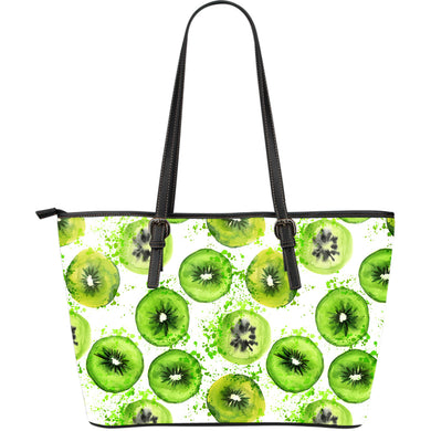 Watercolor kiwi pattern Large Leather Tote Bag