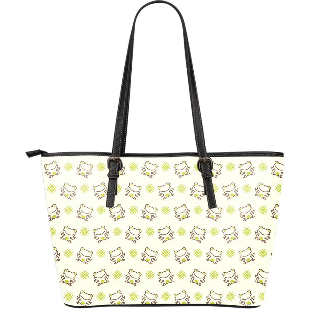 Cute cartoon frog baby pattern Large Leather Tote Bag