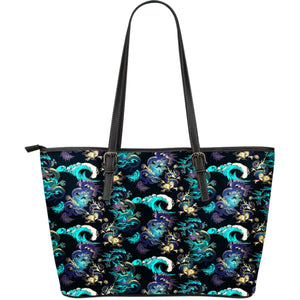 Dragon Sea Wave Pattern Large Leather Tote Bag
