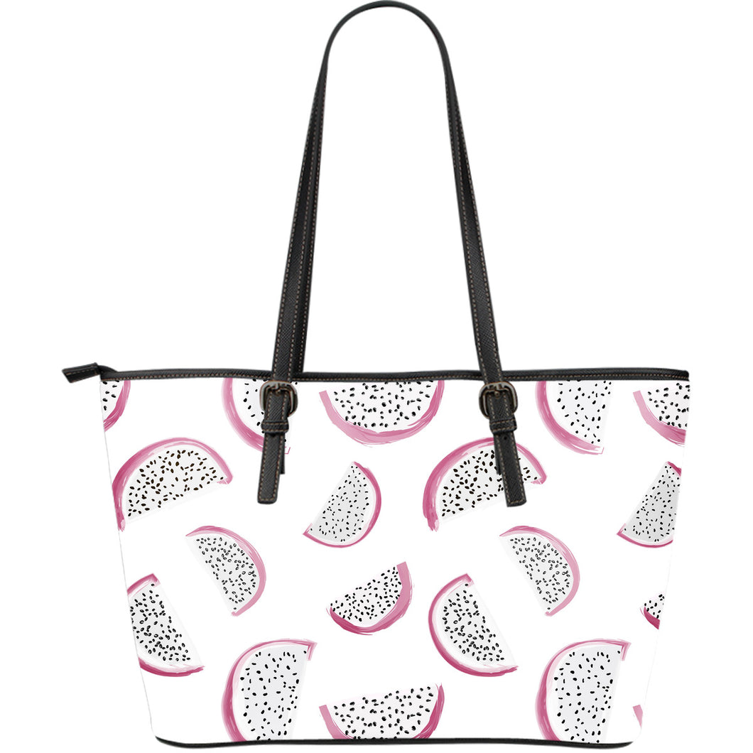 dragon fruit pattern Large Leather Tote Bag