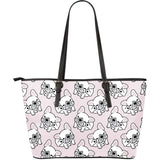 Cute french bulldog pattern Large Leather Tote Bag