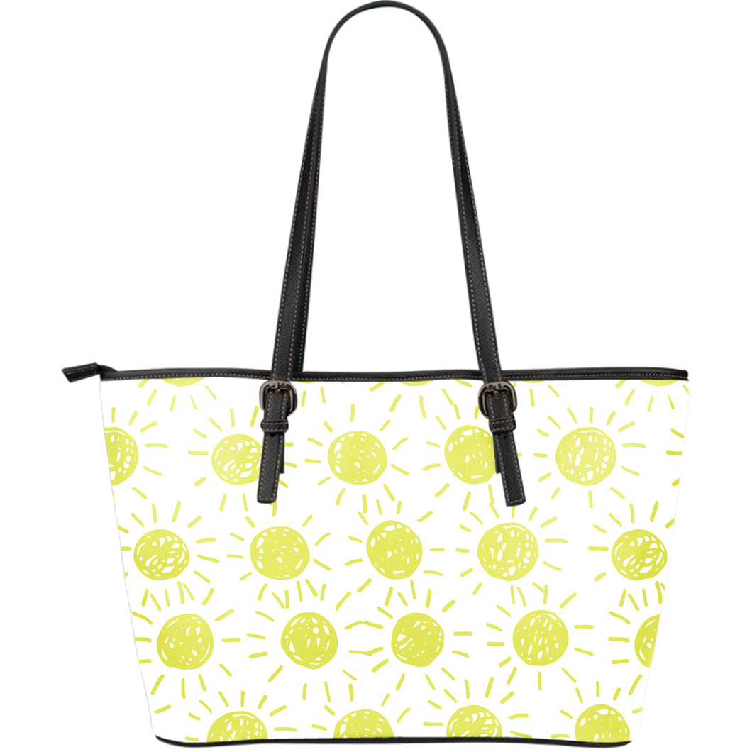 Hand Drawn Sun Pattern Large Leather Tote Bag