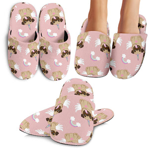 Cute Unicorn Pug Pattern Slippers