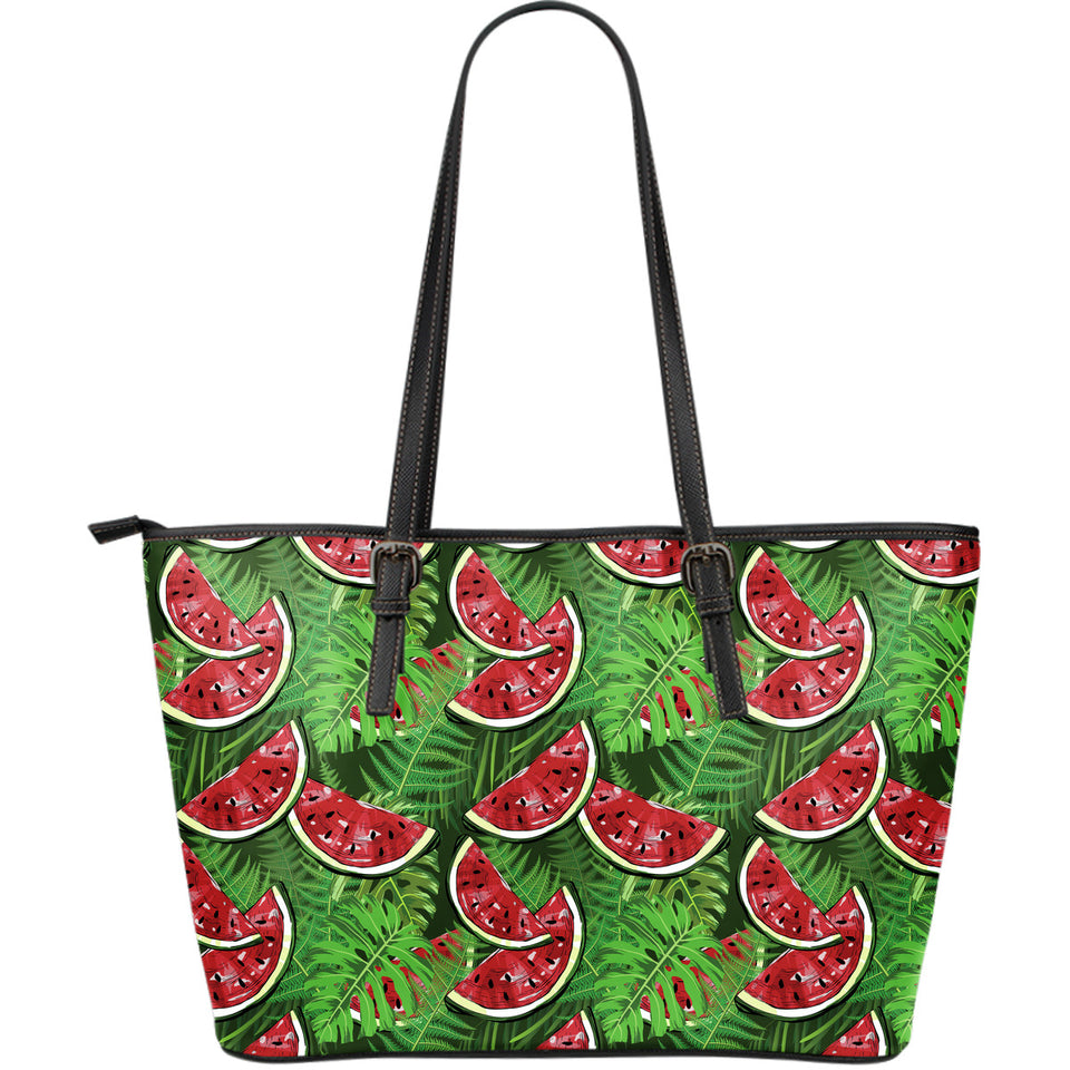 Watermelons tropical palm leaves pattern background Large Leather Tote Bag