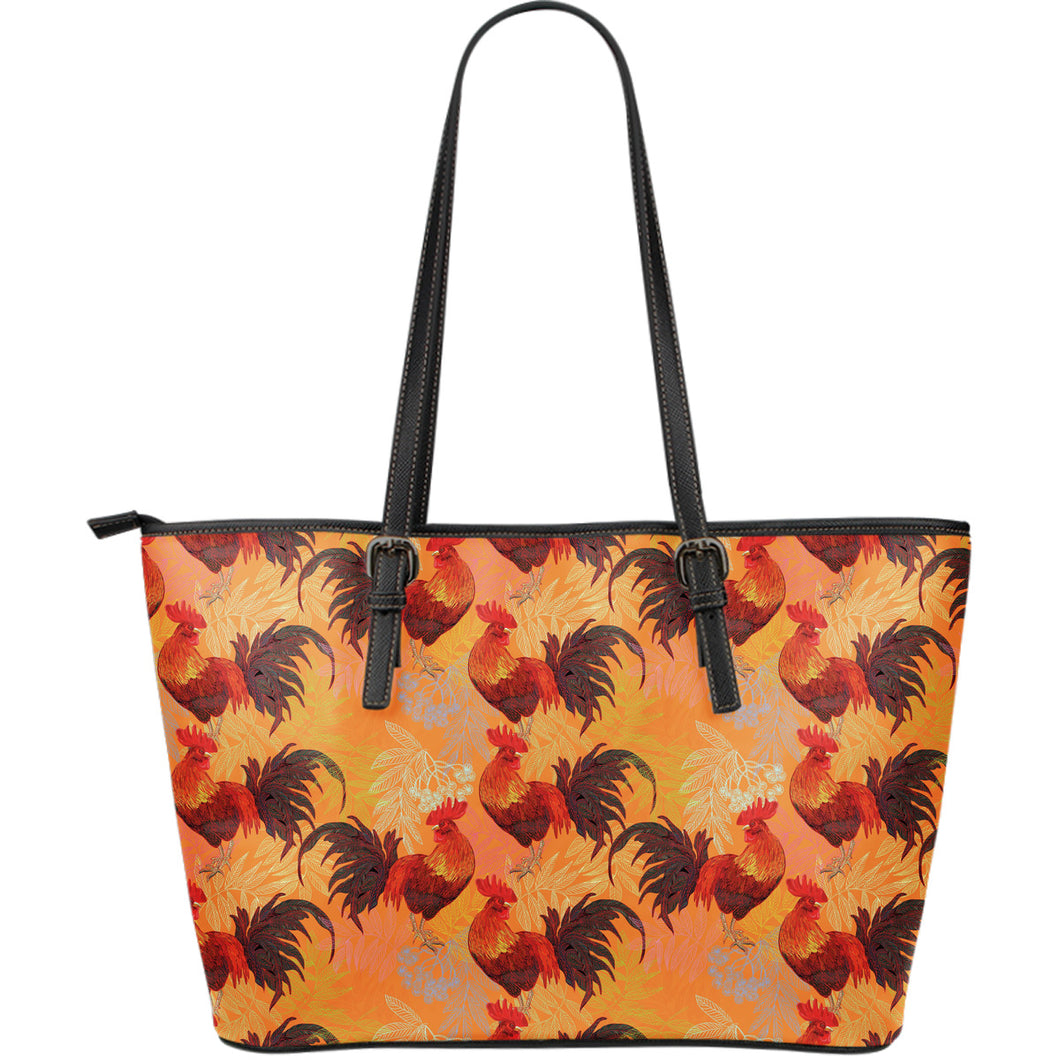 red rooster chicken cock pattern Large Leather Tote Bag