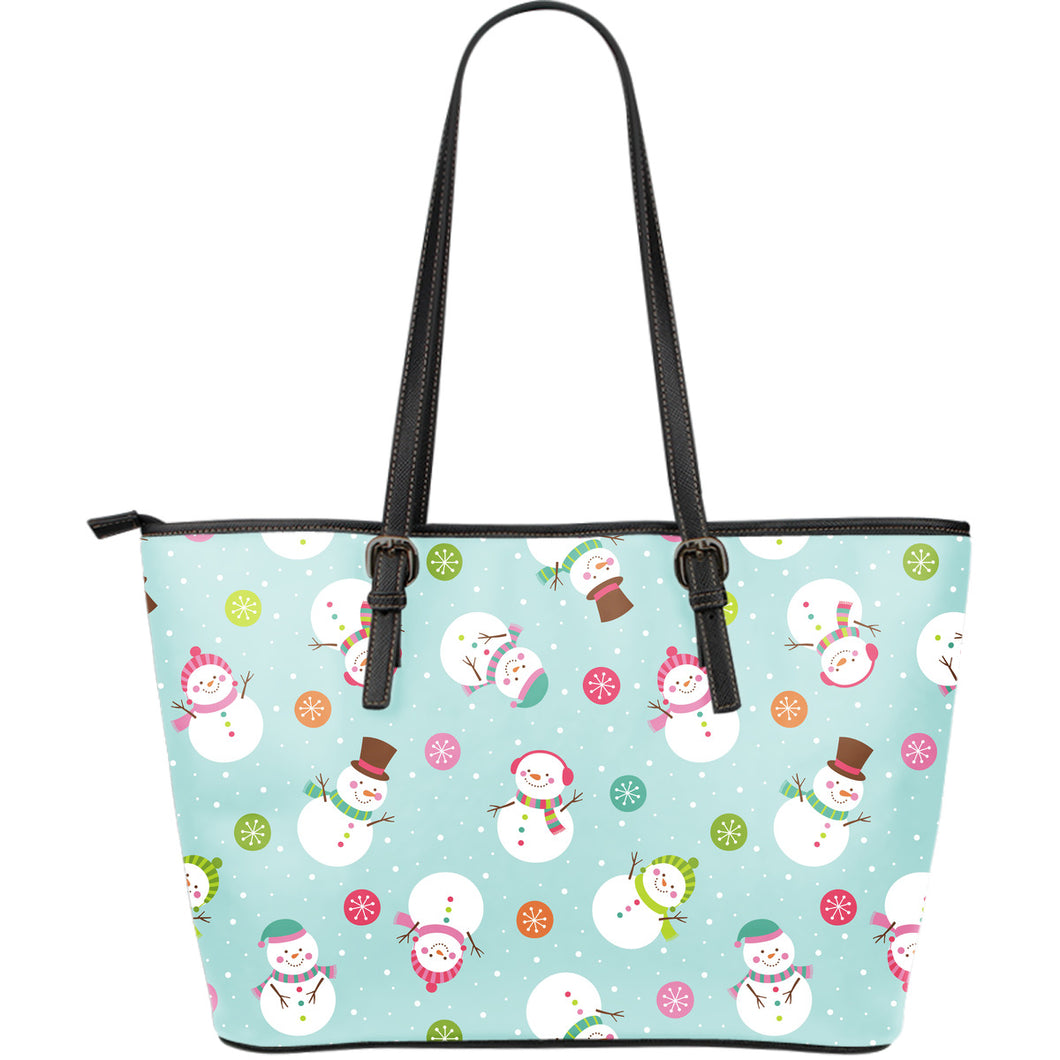 Cute snowman snowflake pattern Large Leather Tote Bag