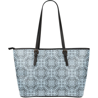 Traditional indian element pattern Large Leather Tote Bag