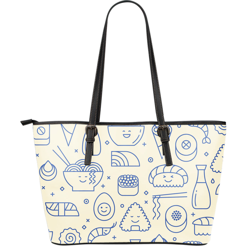 Cute sushi icon pattern Large Leather Tote Bag