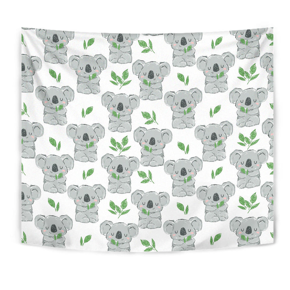 Hand Drawn Koala Leaves Pattern Wall Tapestry