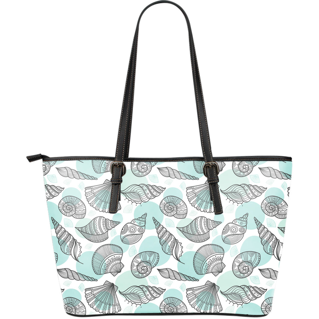 Shell Polynesian Tribal  Large Leather Tote Bag