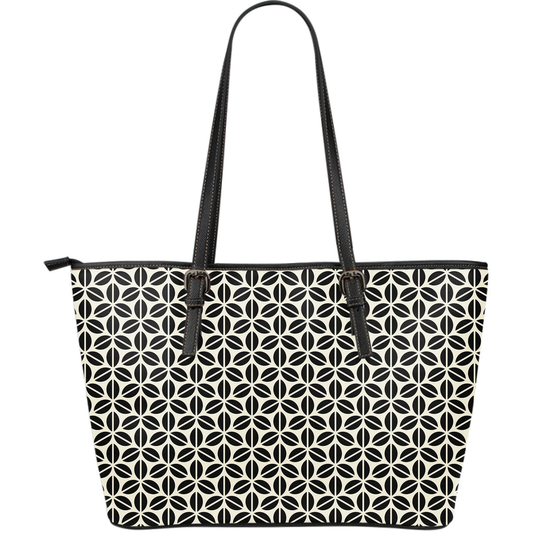 Coffee Bean Abstract Modern Pattern Large Leather Tote Bag