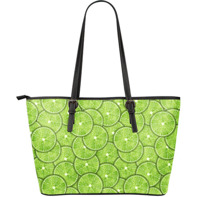 Slices of Lime pattern Large Leather Tote Bag