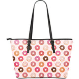 Colorful donut pattern Large Leather Tote Bag