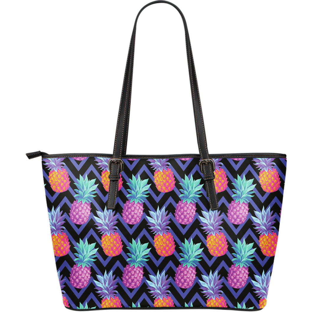 Pineapples pattern zigzag background Large Leather Tote Bag