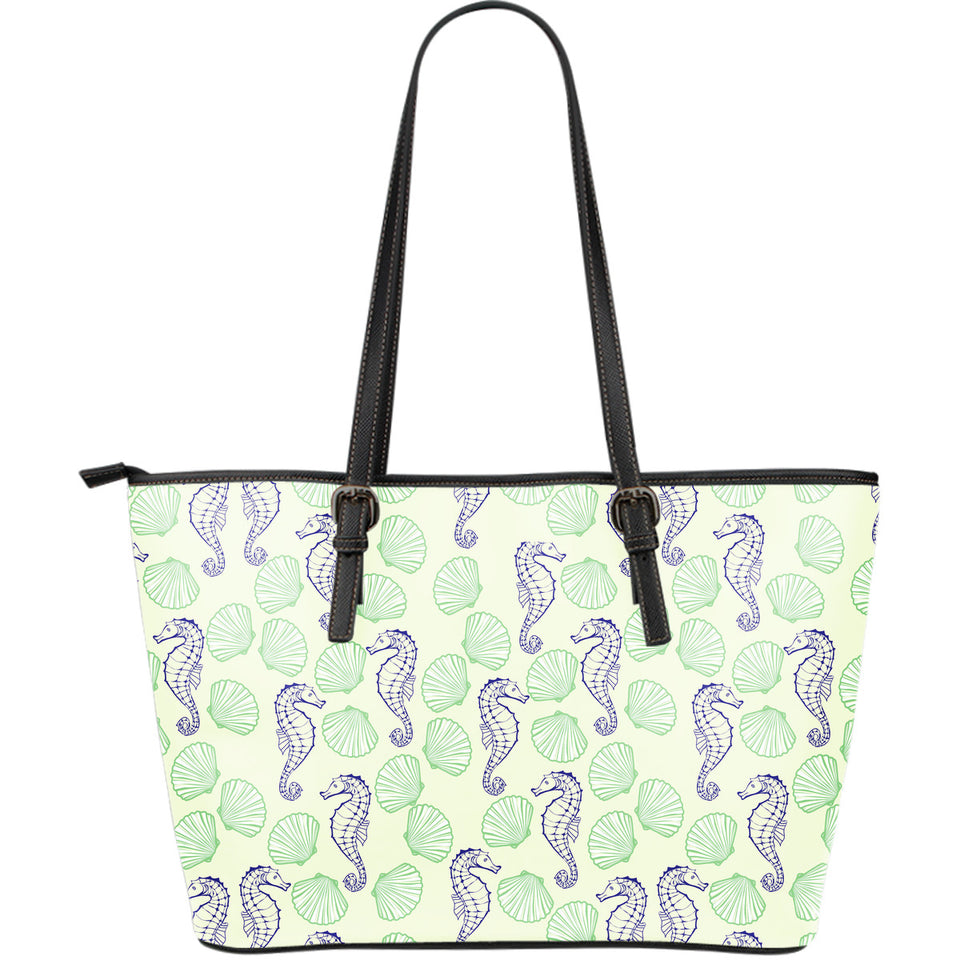 Seahorse shell pattern Large Leather Tote Bag