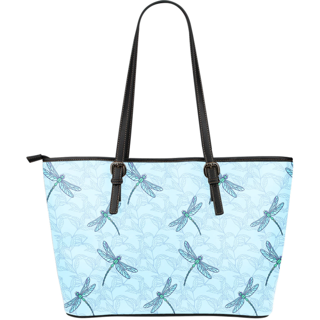 Dragonfly pattern blue background Large Leather Tote Bag