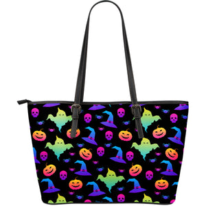 Colorful Halloween Background Large Leather Tote Bag