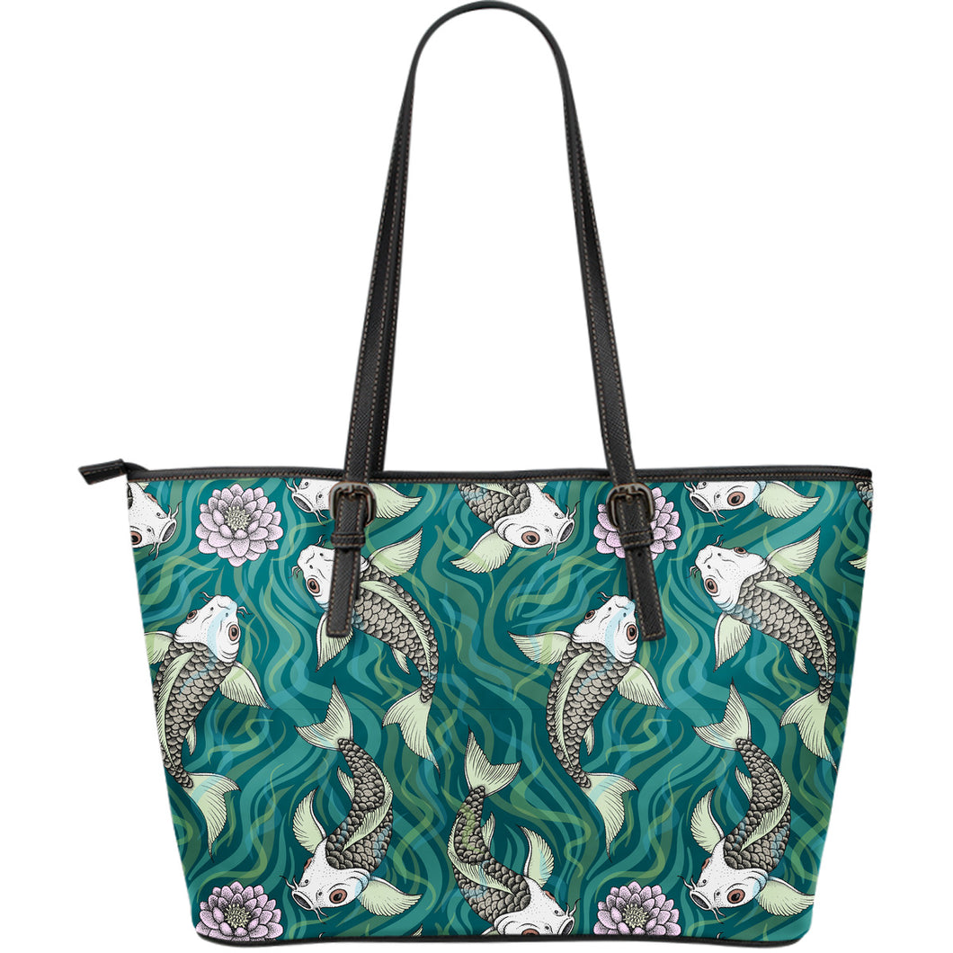 Koi Fish Carp Fish Lotus Pattern Large Leather Tote Bag